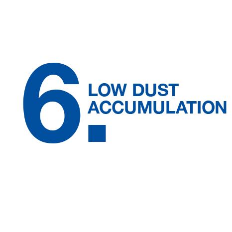 Low dust accumulation
